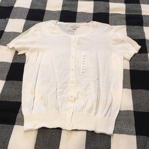 LOFT white short sleeves cardigan